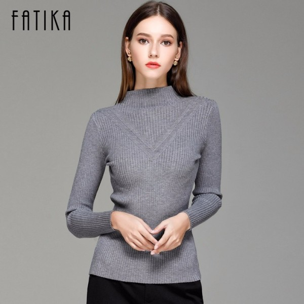 Sweater Women Spring Cotton Pullovers Long Sleeve half turtleneck sweater Slim Knitwear Slim Jumpers For Women Extra Image 2