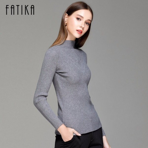 Sweater Women Spring Cotton Pullovers Long Sleeve half turtleneck sweater Slim Knitwear Slim Jumpers For Women Extra Image 4