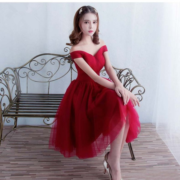 Sweetheart Off Shoulder Short Bridesmaid Dress Wine Red Elegant Banquet Sexy Formal Dresses Custom Formal Robe Extra Image 3