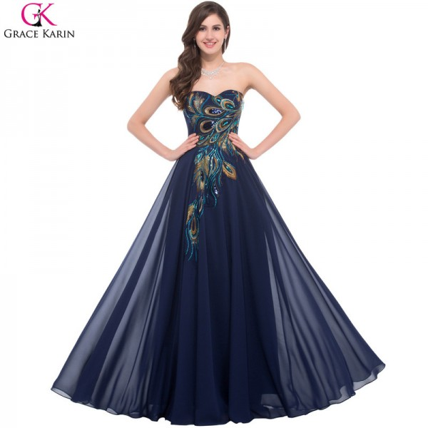 Sweetheart Peacock Navy Blue Purple Black Bridesmaid Dresses Elegant Long Chiffon Formal Gowns Party Dress Extra Image 1