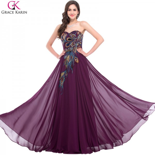 Sweetheart Peacock Navy Blue Purple Black Bridesmaid Dresses Elegant Long Chiffon Formal Gowns Party Dress