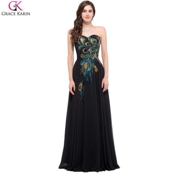 Sweetheart Peacock Navy Blue Purple Black Bridesmaid Dresses Elegant Long Chiffon Formal Gowns Party Dress Extra Image 6