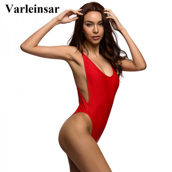 ed26b1a76c63c Swimming Suit For Women Red Bodysuit Sexy High Cut One Piece Swimsuit  Backless Swimwear Bathing Suit Women