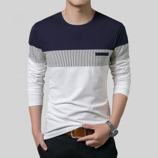T Shirt Men 2018 Spring Summer New Long Sleeve O Neck T Shirt Men Brand Clothing Fashion Patchwork Cotton Tee Tops