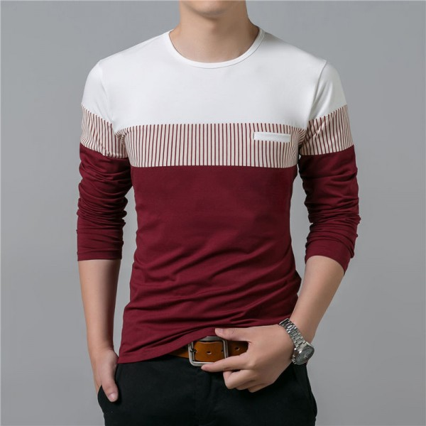 T Shirt Men 2018 Spring Summer New Long Sleeve O Neck T Shirt Men Brand Clothing Fashion Patchwork Cotton Tee Tops Extra Image 2