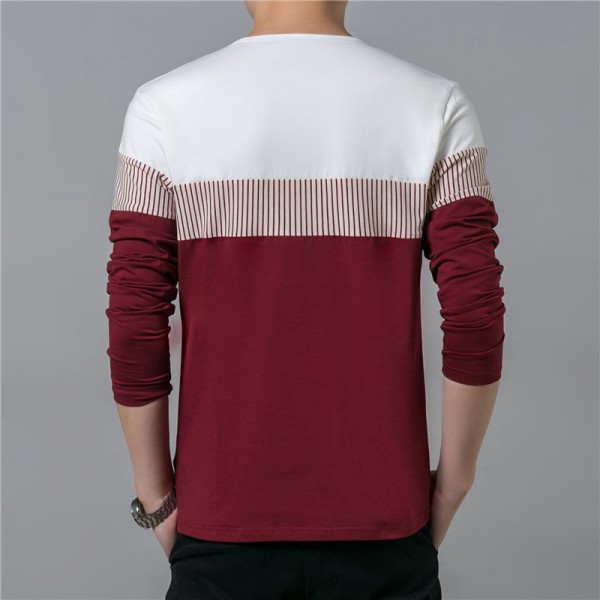 T Shirt Men 2018 Spring Summer New Long Sleeve O Neck T Shirt Men Brand Clothing Fashion Patchwork Cotton Tee Tops Extra Image 3