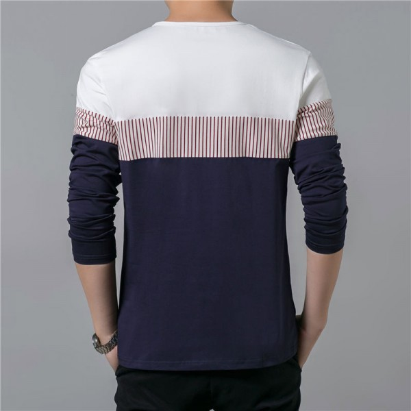 T Shirt Men 2018 Spring Summer New Long Sleeve O Neck T Shirt Men Brand Clothing Fashion Patchwork Cotton Tee Tops Extra Image 4