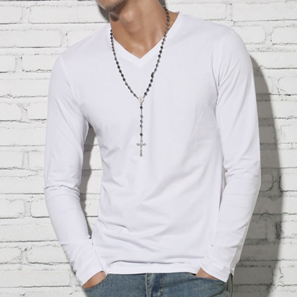 ... T shirt men cotton long sleeve basic solid brand T shirt elastic Mens  sexy V neck ... 2e9d8dbc3de