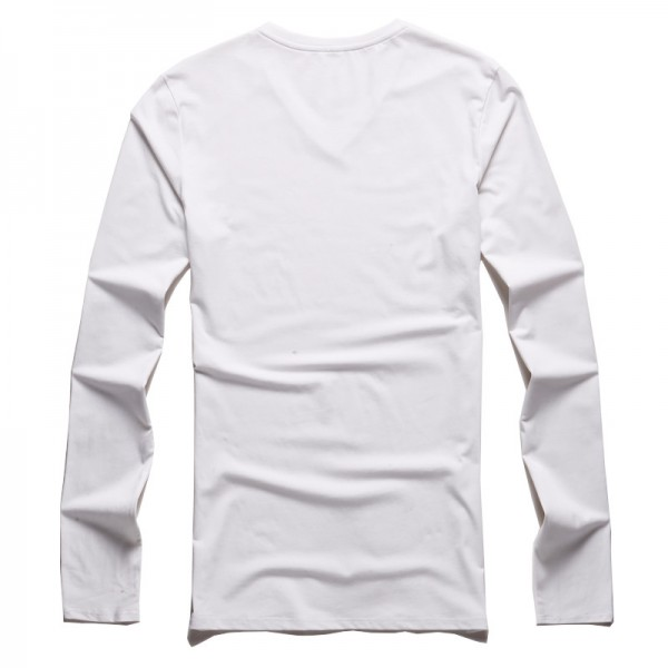 T shirt men cotton long sleeve basic solid brand T shirt elastic Mens sexy V neck slim bottoming long sleeved Tees Extra Image 4