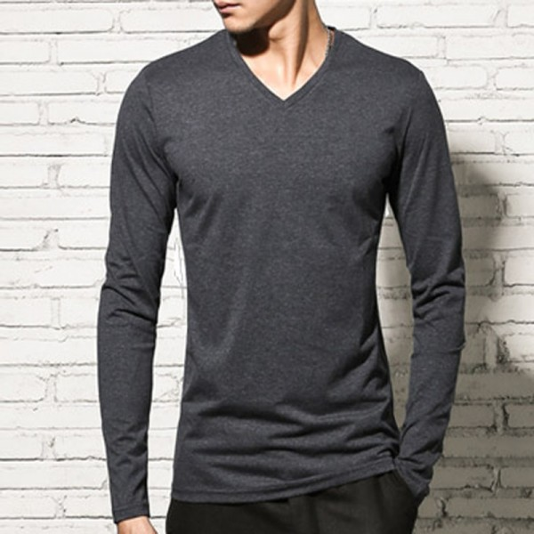 T shirt men cotton long sleeve basic solid brand T shirt elastic Mens sexy V neck slim bottoming long sleeved Tees Extra Image 6