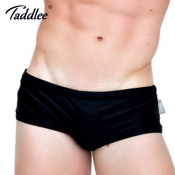 Taddlee Brand 2018 New Sexy Mens Swim Boxer Briefs Solid Pure Color Surf Board Trunks Swimming Bikini Gay