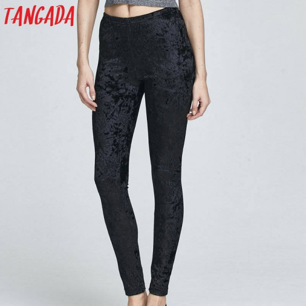 Tangada Fashion Women Black Velvet Elastic Waist Ankle Length Leggings Cosy Casual Women Thumbnail