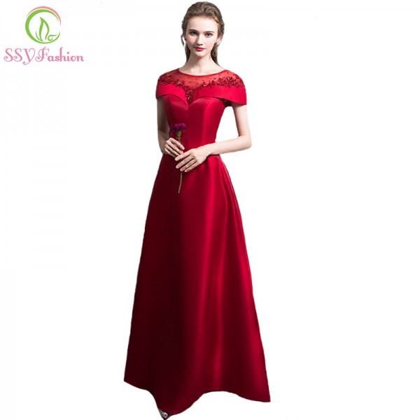 The Bride Banquet Elegant Red Evening Dress Luxury Satin with Beading Floor Length Party Formal Gown Custom Made Extra Image 1