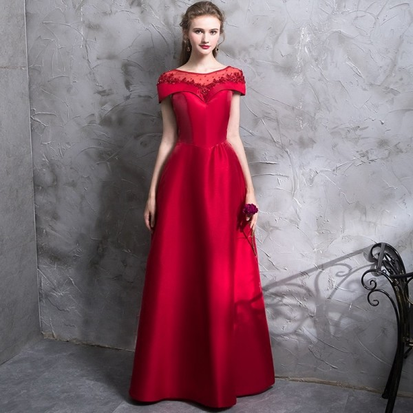 The Bride Banquet Elegant Red Evening Dress Luxury Satin with Beading Floor  Length Party Formal Gown ... 25e0dbb20d63