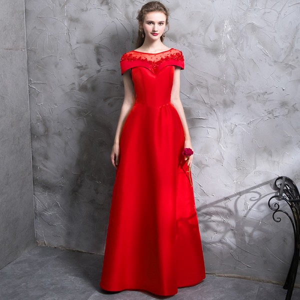 The Bride Banquet Elegant Red Evening Dress Luxury Satin with Beading Floor Length Party Formal Gown Custom Made Extra Image 6