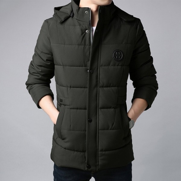 Thick New Winter Fashion Brand Jacket Men Korean Hooded Parka Streetwear Quilted Jacket Puffer Bubble Coat Extra Image 2