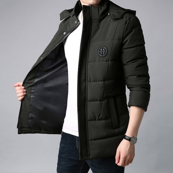 Thick New Winter Fashion Brand Jacket Men Korean Hooded Parka Streetwear Quilted Jacket Puffer Bubble Coat Extra Image 3