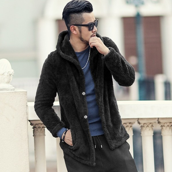 Thickened Warm Plush Hooded Black Cardigan Fleece Mens European Style Winter Brand Knitwear Cashmere Knit Cardigan Extra Image 2