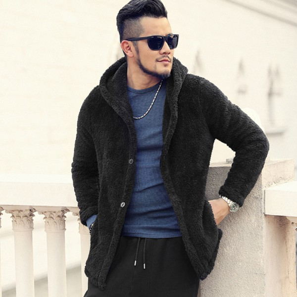 Thickened Warm Plush Hooded Black Cardigan Fleece Mens European Style Winter Brand Knitwear Cashmere Knit Cardigan Extra Image 3