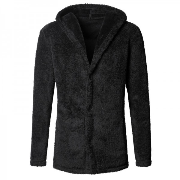 Thickened Warm Plush Hooded Black Cardigan Fleece Mens European Style Winter Brand Knitwear Cashmere Knit Cardigan Extra Image 4