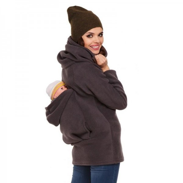 Three In One Multi Functional Mother Kangaroo Pockets Hooded Hoodies Women Casual Hoodies Zipper Pregnant Tops Extra Image 1