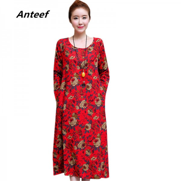 Toe Length Loose Fit Autumn Summer Dress For Women Casual Party Comfortable Pretty Dresses For Female Extra Image 1