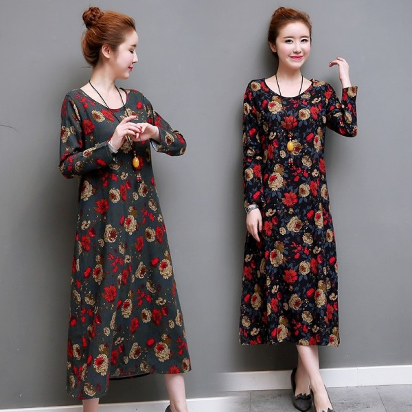 Toe Length Loose Fit Autumn Summer Dress For Women Casual Party Comfortable Pretty Dresses For Female Extra Image 2