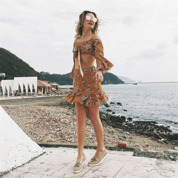 Top And Skirt Set For Women New Summer Style Two Piece Set Long Sleeve Irregular Top Mini Dress For Women Extra Image 4