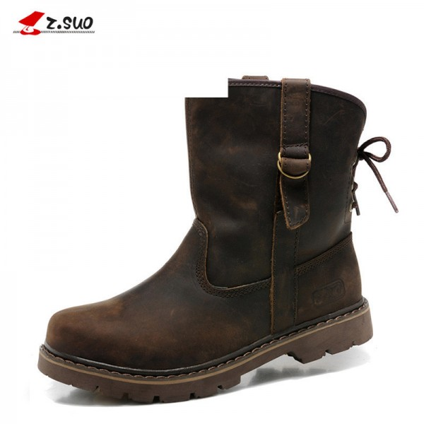 Top Genuine Leather Men Boots Vintage Motorcycle Boots Men Brown High Quality Safety Shoes For Men Extra Image 1