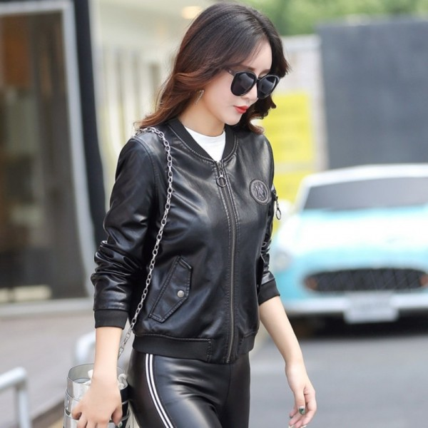 Top Leather Jacket Women Coat Female Fashion Casual Solid Stand Collar Womens Short Leather Jacket Baseball Clothing Extra Image 1