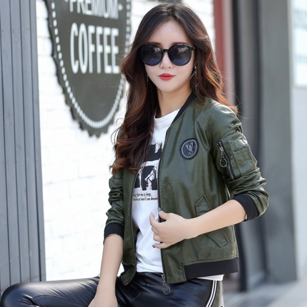 Top Leather Jacket Women Coat Female Fashion Casual Solid Stand Collar Womens Short Leather Jacket Baseball Clothing Extra Image 2