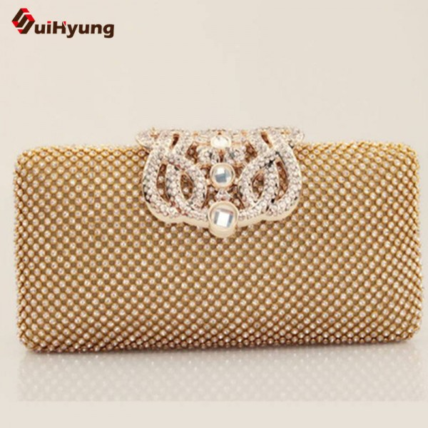 Top Quality Luxury Full Diamond Women Party Clutch Evening Bags Rhinestone Wedding Velvet Bridal Clutch Thumbnail
