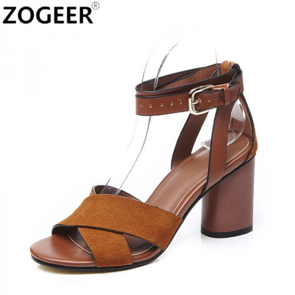 a5f7e1e5425 Buy Top Quality Suede Leather Women Sandals Fashion Summer Thick High Heel  Woman Shoes Ankle Strap Ladies Party Shoes