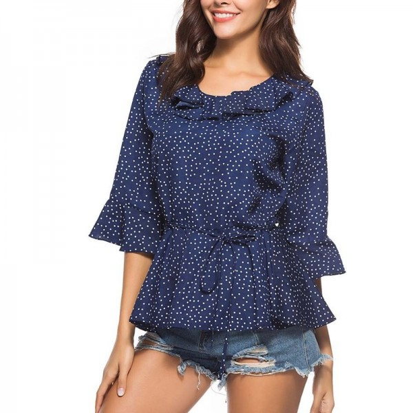 Tops and Blouses Summer 2019 Front Tie Ladies Top Vintage Polka Dot Long Sleeve Blouse Streetwear Woman Clothes Extra Image 3
