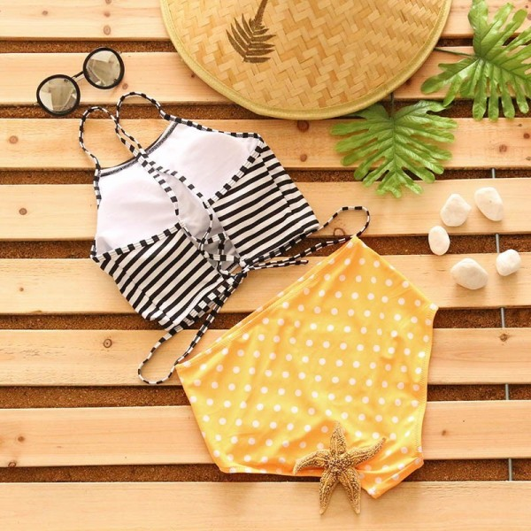 TQSKK Sexy Bikini Stripe Women High Waist Swimsuit Female Bandage Swimwear Cross Bikini Set Summer Swim Wear Extra Image 3