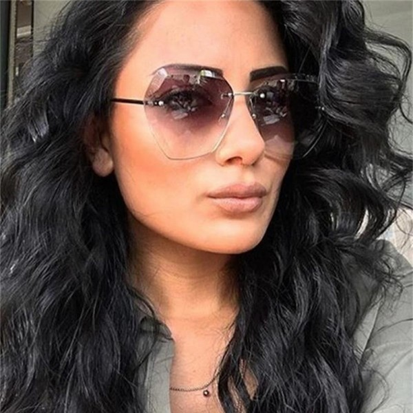 Transparent Gradient Oversized Sunglasses For Women Rimless Female Shades Clear Lens Luxury Sunglasses