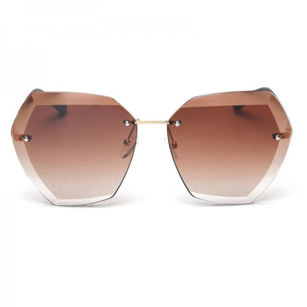 Transparent Gradient Oversized Sunglasses For Women Rimless Female Shades Clear Lens Luxury Sunglasses Extra Image 4