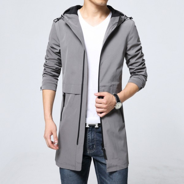 Trench Coat Men Classic Mens Zipper Trench Coat Masculino Mens Clothing Long Jackets Coats British Style Overcoat Extra Image 1