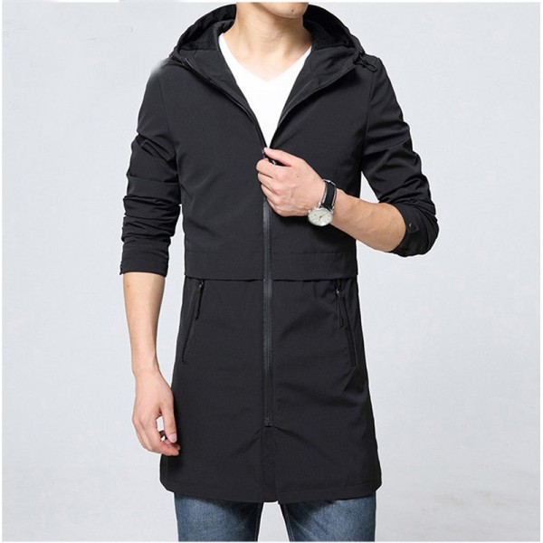 Trench Coat Men Classic Mens Zipper Trench Coat Masculino Mens Clothing Long Jackets Coats British Style Overcoat Extra Image 2