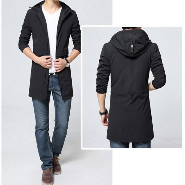 Trench Coat Men Classic Mens Zipper Trench Coat Masculino Mens Clothing Long Jackets Coats British Style Overcoat Extra Image 3