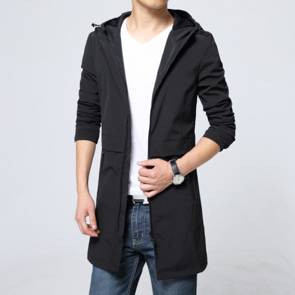 Trench Coat Men Classic Mens Zipper Trench Coat Masculino Mens Clothing Long Jackets Coats British Style Overcoat Extra Image 4