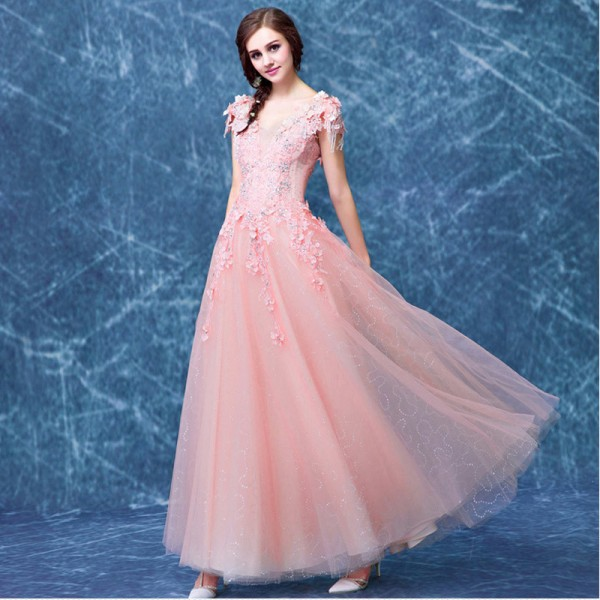 Trending Now V Neck Evening Dresses Flower Appliques Crystal Tassel Elegant Evening Gown Wedding Dresses