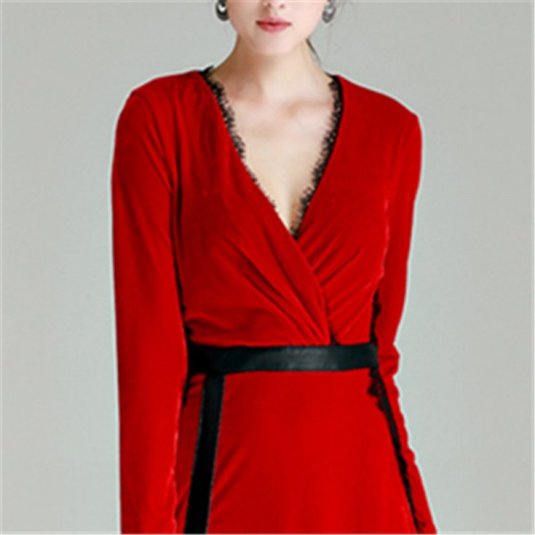 Trending Plus Size Black Red Simple Gold Velvet Prom Gowns Deep V Neck Sex Full Sleeves Floor Length Party Dresses Extra Image 4