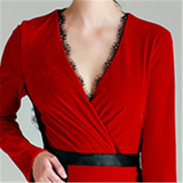 Trending Plus Size Black Red Simple Gold Velvet Prom Gowns Deep V Neck Sex Full Sleeves Floor Length Party Dresses Extra Image 6