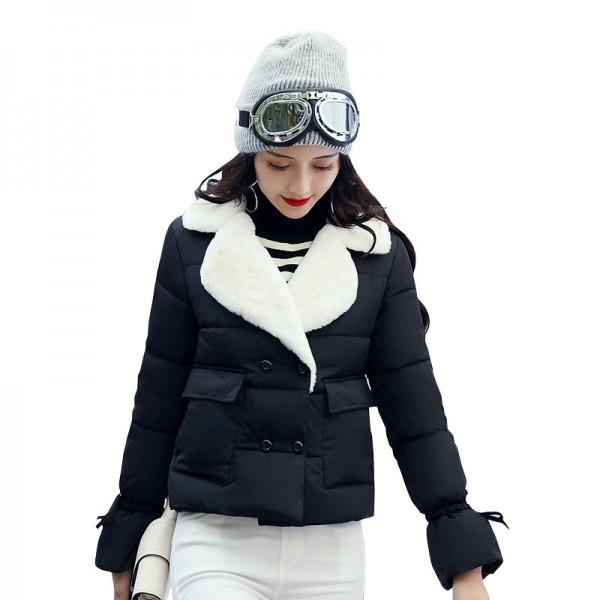 Turn down collar women winter coat female outerwear ladies thick warm short jacket slim breast button coats Extra Image 3