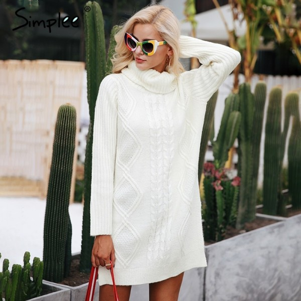 Turtleneck high split knitting pullover Autumn winter long sleeve sweater women pull femme streetwear soft jumper Extra Image 1