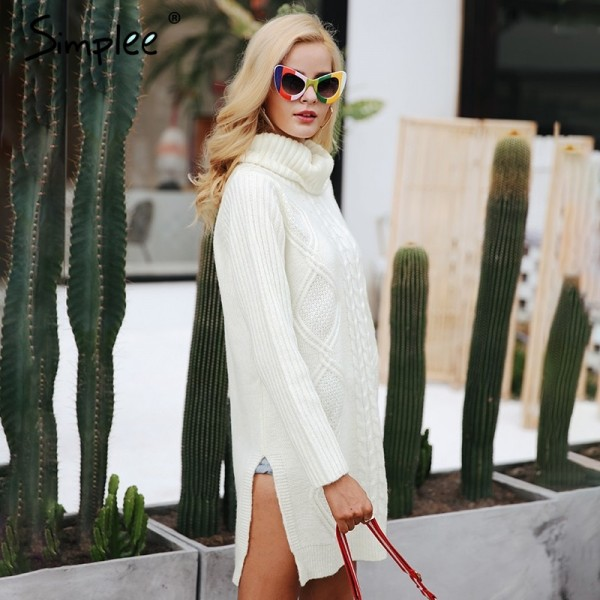 Turtleneck high split knitting pullover Autumn winter long sleeve sweater women pull femme streetwear soft jumper Extra Image 4