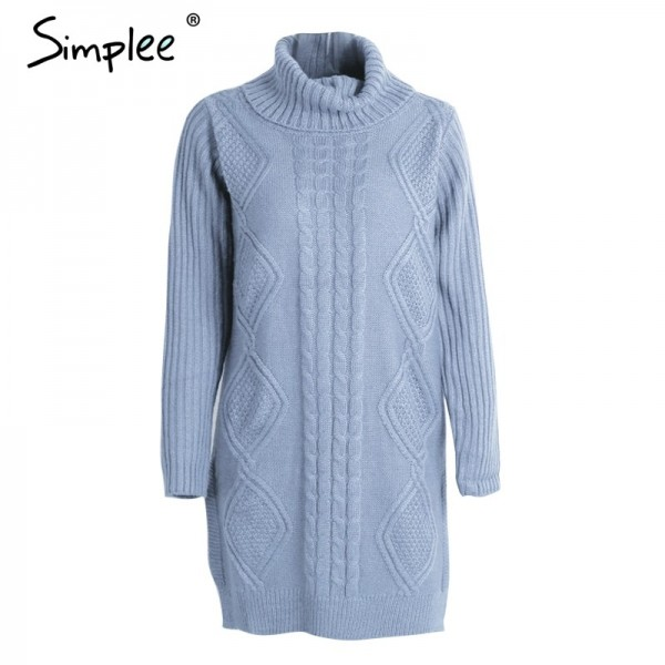Turtleneck high split knitting pullover Autumn winter long sleeve sweater women pull femme streetwear soft jumper Extra Image 5