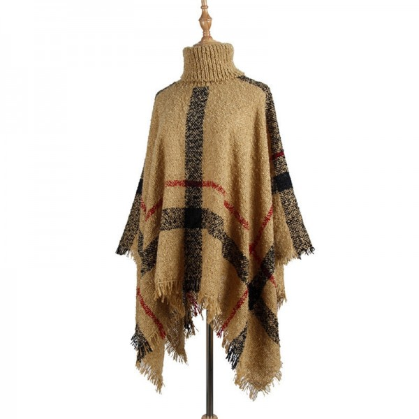 Turtleneck Sweater Winter Coat Women Plaid Tassels Shawl Knitting Jumper Pullover Ponchos And Capes Extra Image 5