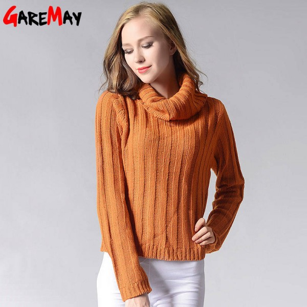 Turtleneck Sweaters For Women Loose Knitted Long Sleeve Autumn ...